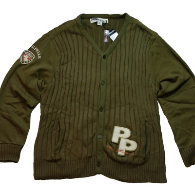 Pelle Pelle Cardigan Sweater / Embroidered Logos / Color: Dark Olive / #51PR8