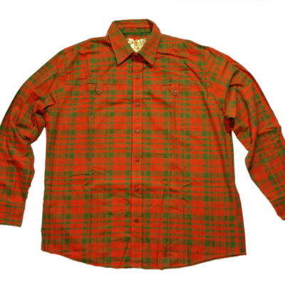 Pelle Pelle Long Sleeve Flannel Button Up Shirt / Color: Flame Orange Green
