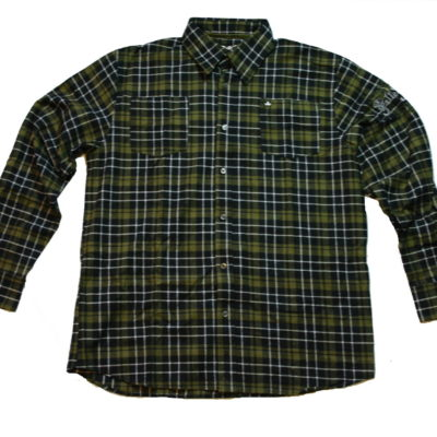 Pelle Pelle Long Sleeve Flannel Button Up Shirt / Logo on Left Arm / Color: Olive Black