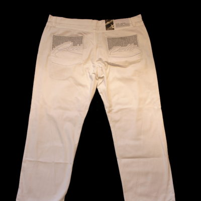 Pelle Pelle Signature Leather Trim Studded Jean / Color: White