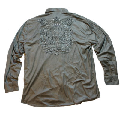 Pelle Pelle Long Sleeve Faux Suede Button Up Embroidered & Studded back Logo / Color: Pewter / #51SD9