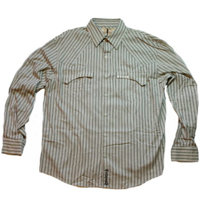 Pelle Pelle Long Sleeve Ankh Stripe Button Up Shirt / Color: Cream Green Brown