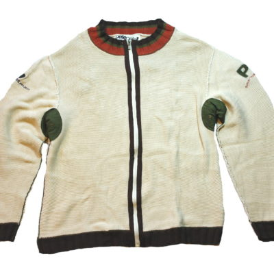 Pelle Pelle Zip Up Sweater / Embroidered Logos / Color: Cream Brown Olive Espresso