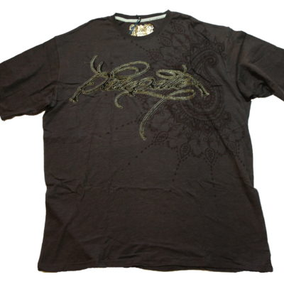 Pelle Pelle Signature Tee / Velour lettering Gold stitch / Color: Espresso / #51DB6