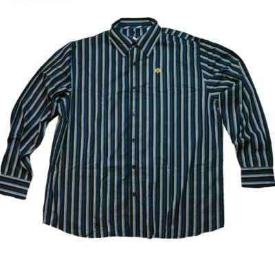 Pelle Pelle Long Sleeve Stripe Button Up / Color: Navy Green Sky Cream Combo