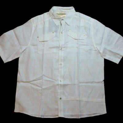 Pelle Pelle Short Sleeve Linen Button up Shirt / Color: White
