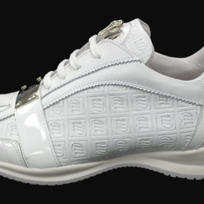 Mauri Shoe #8840 White / Embossed Nappa Leather / Patent Leather / Baby Crocodile