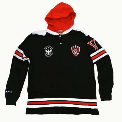 Exclusive Game Hooded Henley Jersey / Black Red