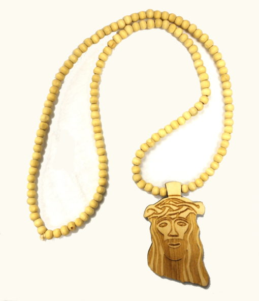 Wood Jesus Face Bead Chain / Color: Raw Wood