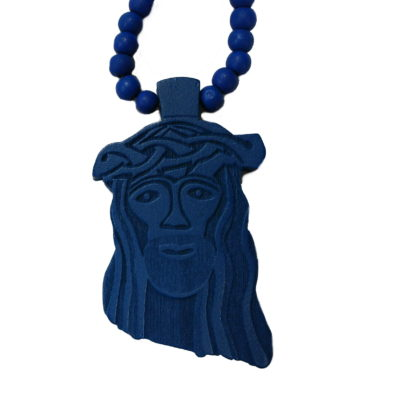 Wood Jesus Face Bead Chain / Color: Blue