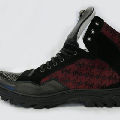Mauri Boot 8865 black Ruby Red Aligator on Toe Mauri M Fabric Sued & Nappa Leather