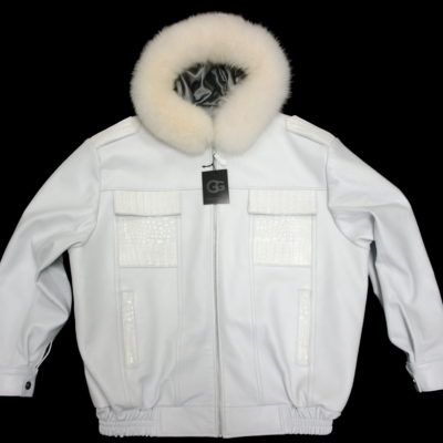 G Gator White Hooded Jacket / Lambskin / Genunie Alligator Pockets / Fox Fur Hood / Aligator Tail on Back