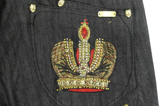 7th 38 Jean Embroidered Rhinestone Crown S202DP / Color: Black