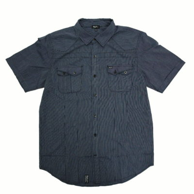 LRG World Short Sleeve Button Up Stripe Woven / Color: Navy