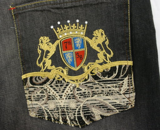 7th 38 Jean Embroidered Rhinestone Lion Crown Tapestry Pockets / S382DP/ Color: Black
