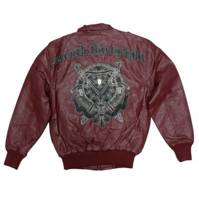 7th 38 Perforated PU Zip-Up Jacket with Back Applique Stitch & Studs  / Color: Maroon