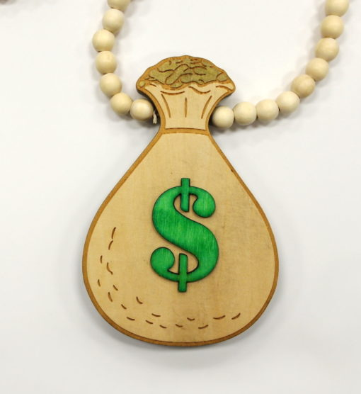 Wood Money Bag Chain / Color: Green Raw Wood