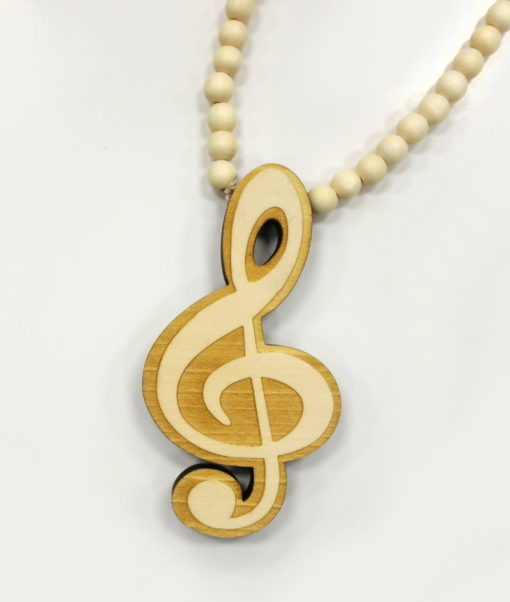 Wood Music Note Chain / Color: Raw Wood