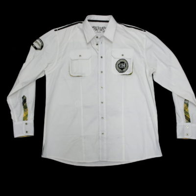 Crown Holder Long Sleeve Button-Up HR72752 / Color: White Olive