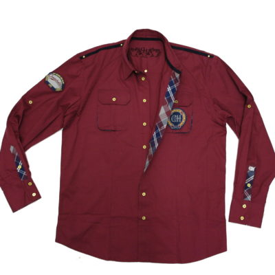 Crown Holder Long Sleeve Button-Up HR72752 / Color: Burgudy