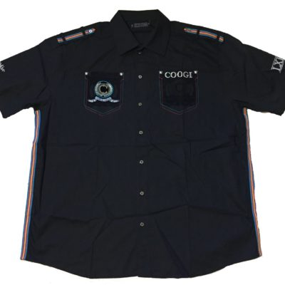 Coogi Short Sleeve Botton Up / Embroidered Pockets / Style# C706101XX / Color: Black