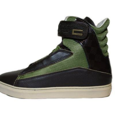 Coogi Shoe Style# CMF101 / Color: Brown Green / High Top With Strap / Leather Mesh Upper