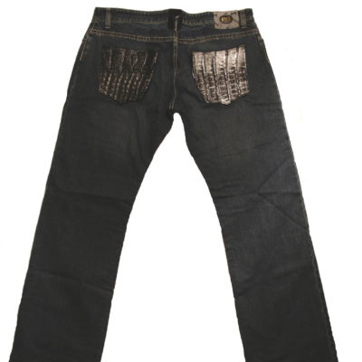 Mauri Jean / Baby Crocodile pockets / Color: Black