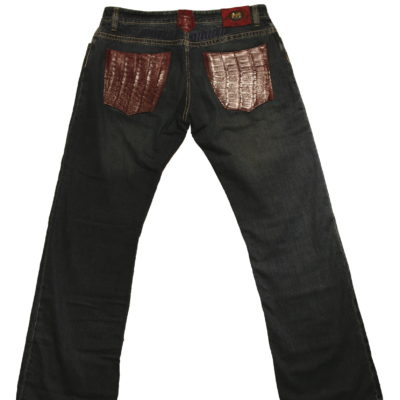 Mauri Jean / Baby Crocodile pockets / Color: Ruby